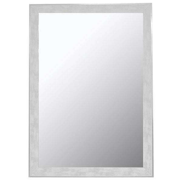 """Hitchcock Butterfield Iconica II Scratched Wash Large White and Silver Transitional Mirror - Off-White - 15.75""""w x 33.75""""h"""
