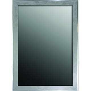 25x35 Scratched Wash White and Silver Trimmed Mirror