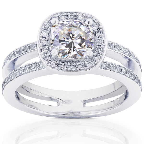 Annello by Kobelli 14k White Gold Moissanite and 1/3ct TDW Round-cut Diamond Engagement Ring