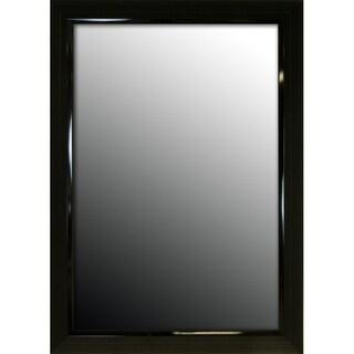 27x37 Glossy Black Stepped Petite Mirror