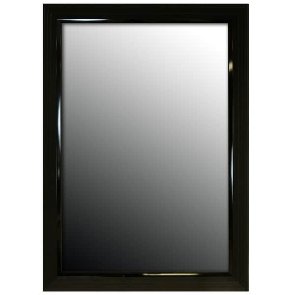 "Hitchcock Butterfield Giza Stepped Large Black Modern Mirror - 29.25""w x 41.25""h"
