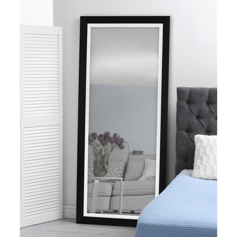 Hitchcock Butterfield Montevideo Natural Large Black and Brushed Nickel Silver Transitional Mirror