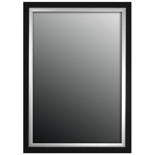 "Hitchcock Butterfield Montevideo Natural Large Black and Brushed Nickel Silver Transitional Mirror - 34.75""w x 44.75""h"