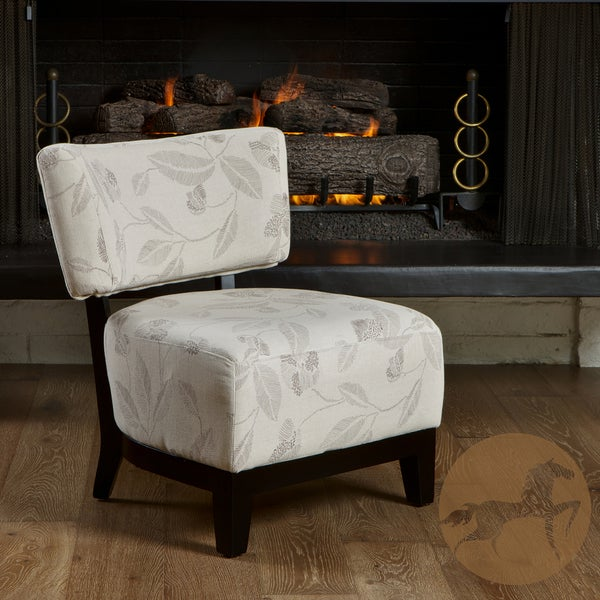Christopher Knight Home Davide Embroidered Beige Fabric Accent Chair