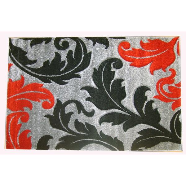 Modern Deco Grey Fleur de Lis Style Rug (7'9 x 10'5)