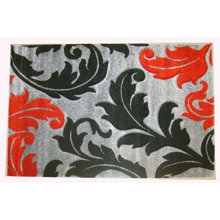 Modern Deco Grey Fleur de Lis Style Rug (5'2 x 7'2)