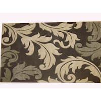 Modern Deco Chocolate Fleur de Lis Style Rug - 7'9 x 10'5