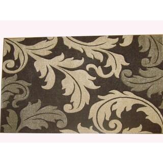 Modern Deco Chocolate Fleur de Lis Style Rug (5'2 x 7'2)