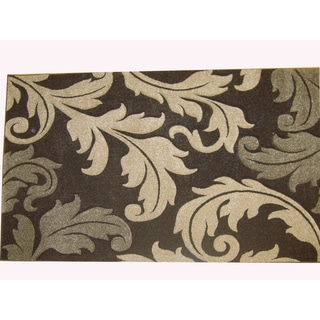 Modern Deco Chocolate Fleur de Lis Style Rug (3'9 x 5'1)