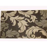 Modern Deco Chocolate Fleur de Lis Style Rug - 3'9 x 5'1