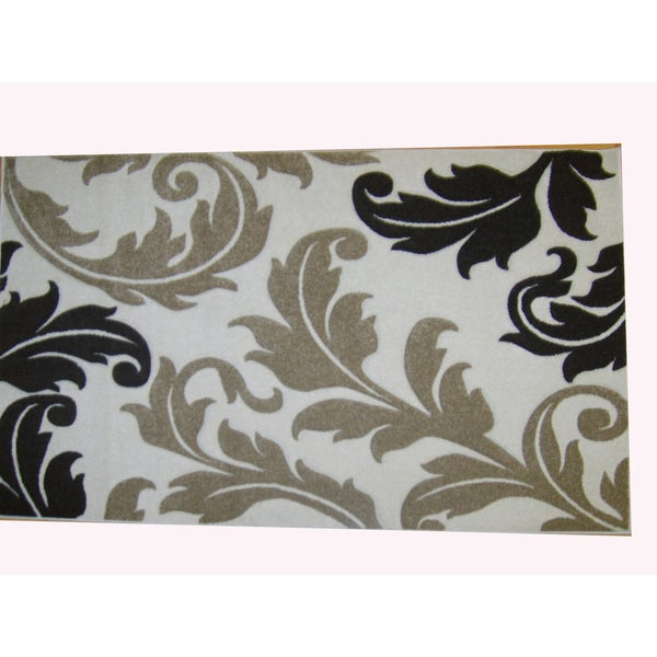 Modern Deco Ivory Fleur de Lis Style Rug (5'2 x 7'2)