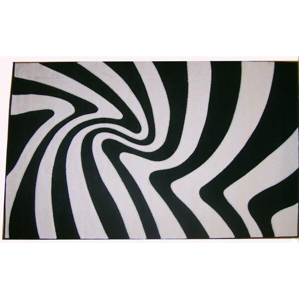 Modern Deco Zebra Print 'Moonstruck' Rug - 7'9 x 10'5