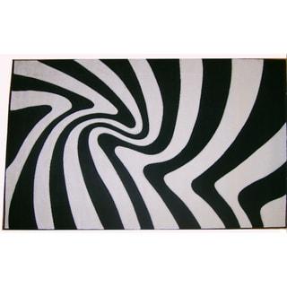 Modern Deco Zebra Print 'Moonstruck' Rug (5'2 x 7'2)