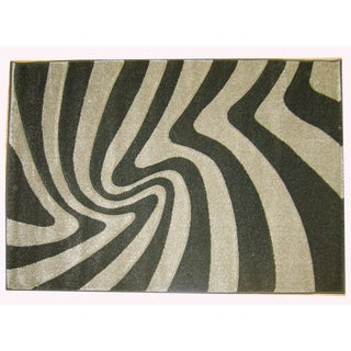 Modern Deco Chocolate Zebra Print Moonstruck Rug (7'9 x 10'5)