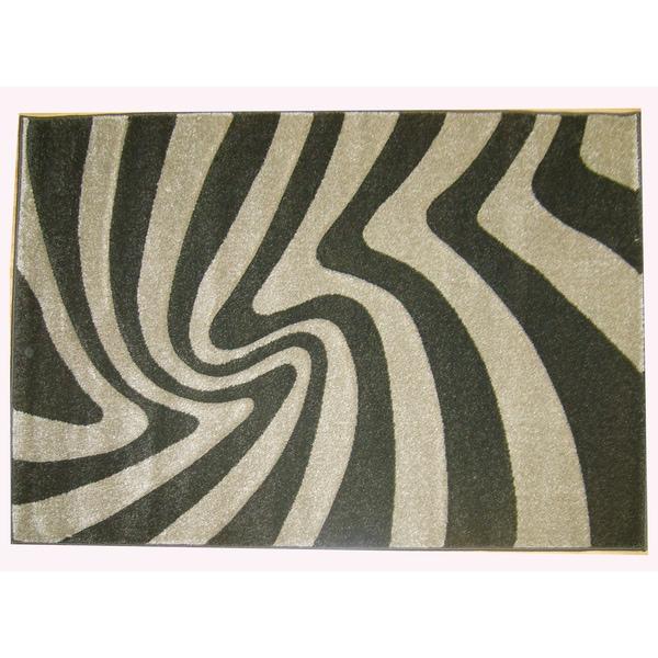 Modern Deco Chocolate Zebra Print Moonstruck Rug - 7'9 x 10'5