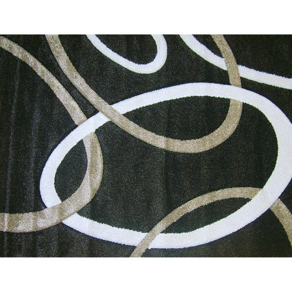 Modern Deco Chocolate Circles Rug - 7'9 x 10'5