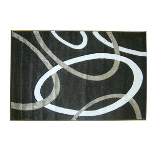 "Modern Deco Chocolate Circles Rug (5'2""x7'2"")"