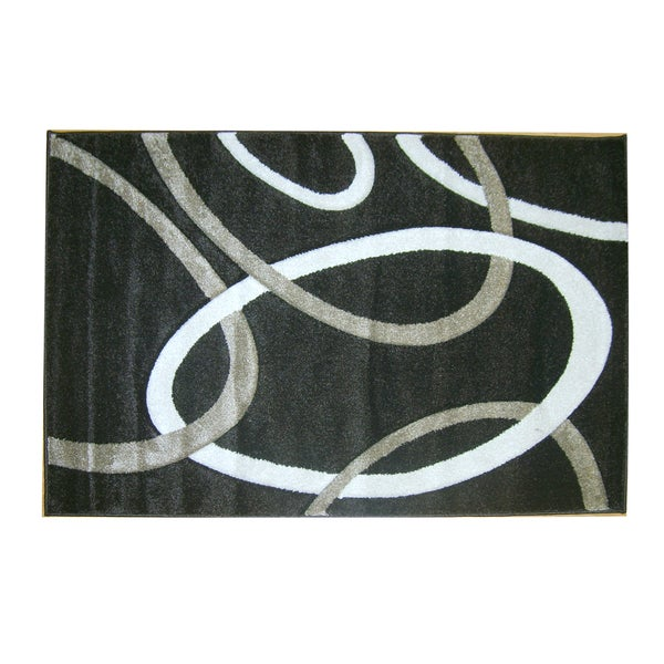 "Modern Deco Chocolate Circles Rug (3'9""x5'1"")"