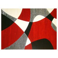 Modern Deco Red Universe Rug (3'9 x 5'1)
