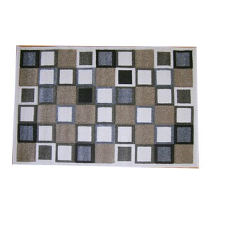 Modern Deco Ivory Squares Rug (3'9 x 5'1)