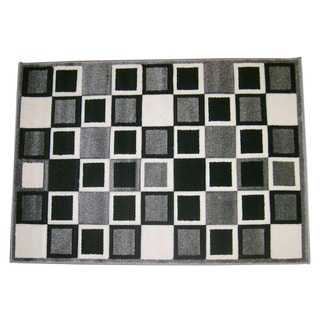 Modern Deco Gray Squares Rug (7'9 x 10'5)