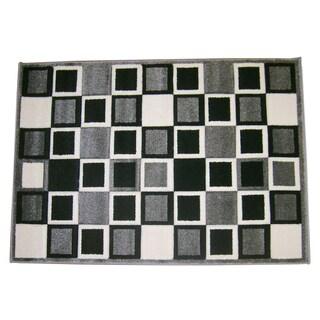Modern Deco Gray Squares Rug (3'9 x 5'1)