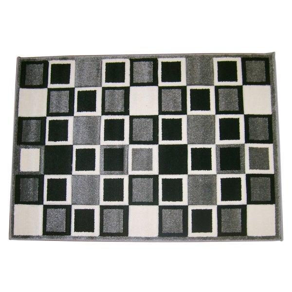 Modern Deco Gray Squares Rug - 3'9 x 5'1