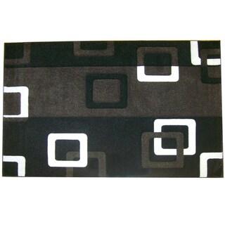 Modern Deco Black Geometric Rug (3'9 x 5'1)