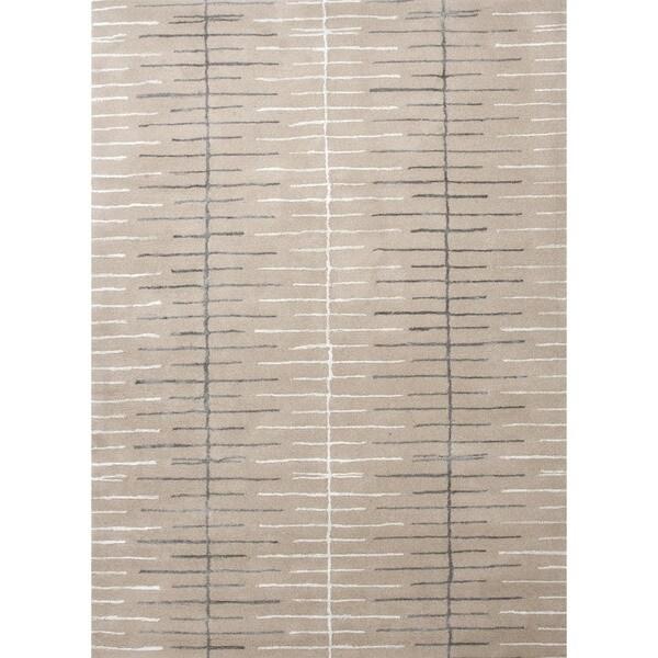 Hand-Tufted Ivory Modern Geometric Wool/Silk Rug (5' x 8')