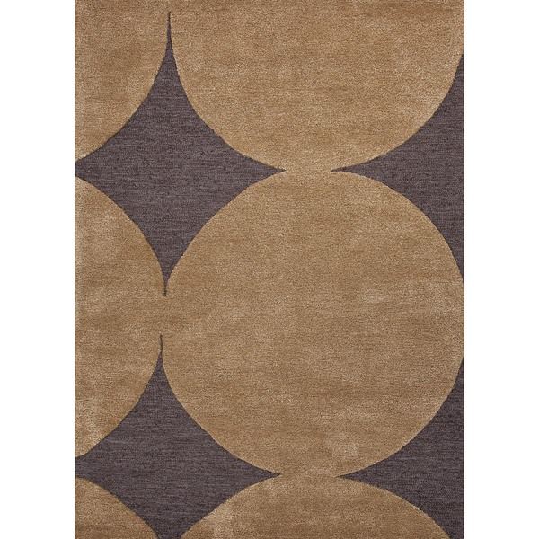 Hand-tufted Modern Geometric Black Coffee Wool/ Silk Rug (2' x 3')