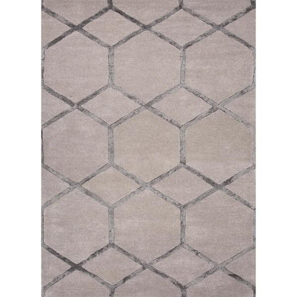 Wool Silk Rugs Contemporary: Shop Hand-Tufted Ashwood Modern Geometric Wool/Silk Rug (8