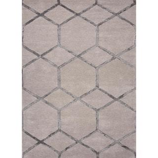 Hand-Tufted Half-Inch Modern Geometric Wool/Silk Rug (2' x 3')