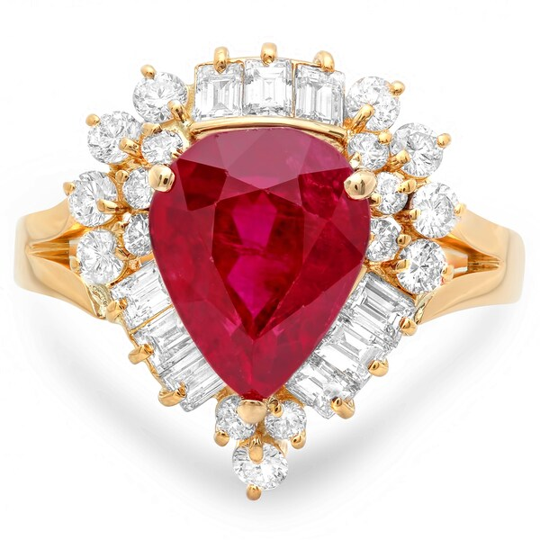 Pre-owned Roberto Martinez 18k Gold Pear-cut Ruby and 1 1/4ct TDW Diamond Estate Ring (G-H, SI1)