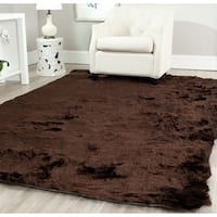 Safavieh Handmade Silken Glam Paris Shag Chocolate Brown Rug - 6' x 9'