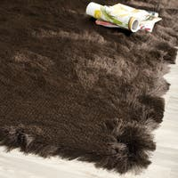 Safavieh Handmade Silken Glam Paris Shag Chocolate Brown Rug (7' Square) - 7' Square