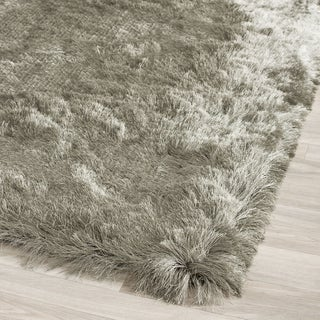 Safavieh Handmade Silken Glam Paris Shag Titanium Polyester Rug (2'6 x 4')