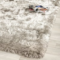 "Safavieh Handmade Silken Glam Paris Shag Sable Brown Rug - 2'6"" x 4'"