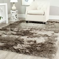 Safavieh Handmade Silken Glam Paris Shag Sable Brown Rug - 5' x 5' Square