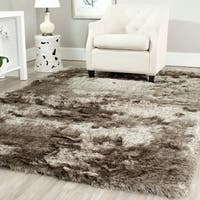 Safavieh Handmade Silken Glam Paris Shag Sable Brown Rug (6' x 9')