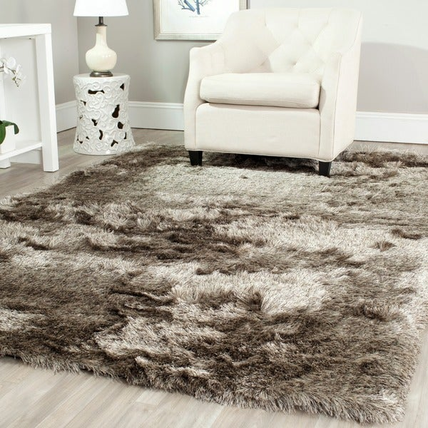 Safavieh Handmade Silken Glam Paris Shag Sable Brown Polyester Rug (7' x 7')