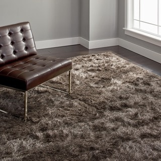 Safavieh Handmade Silken Glam Paris Shag Sable Brown Polyester Area Rug (8' x 10')