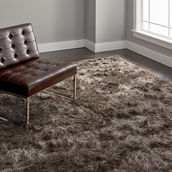Shop Stewart Handmade Silken Glam Shag Sable Brown Rug 8 X 10