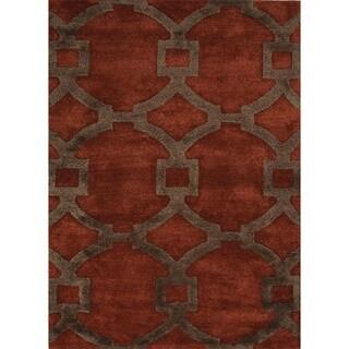 Hand-Tufted Red Oxide Modern Geometric Wool/Silk Rug (2' x 3')