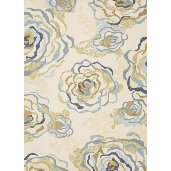 Floral Blue Indoor/ Outdoor Rug (7'6 x 9'6)