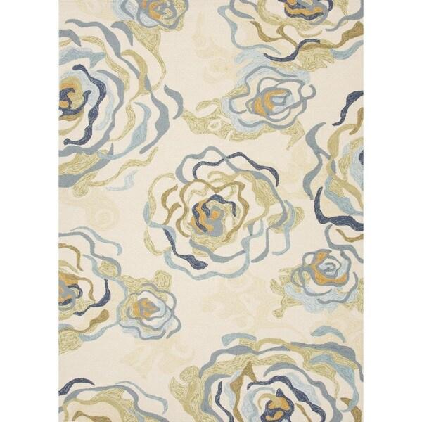 Floral Blue Indoor/ Outdoor Rug (3'6 x 5'6)
