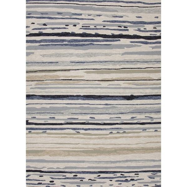 Abstract Gray/ Black Indoor/ Outdoor Rug (2' x 3')