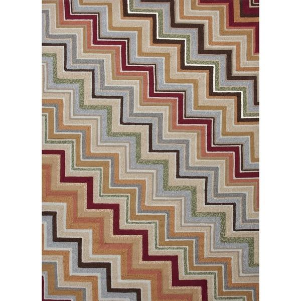 """Stripe Red/Orange Indoor/Outdoor Area Rug (3'6"""" x 5'6"""")"""