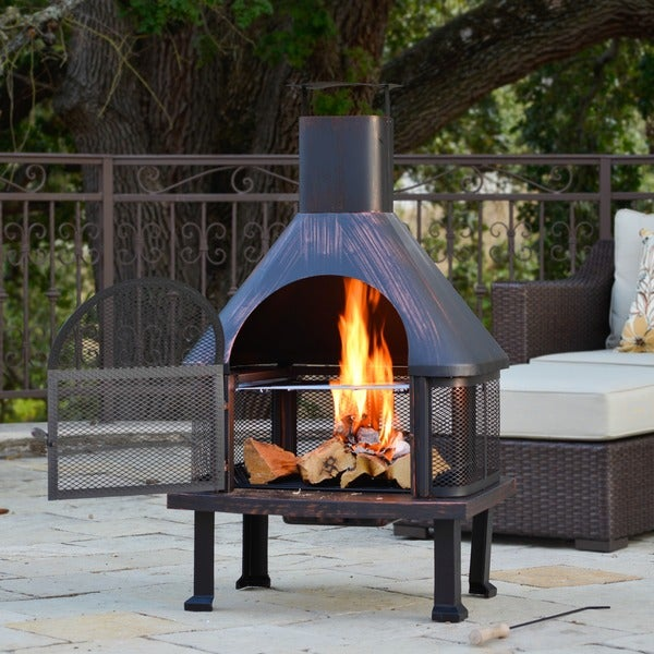 Outdoor Patio Fireplace Wood Burning Fire Pit Bronze ... on Outdoor Fireplace For Deck id=73240