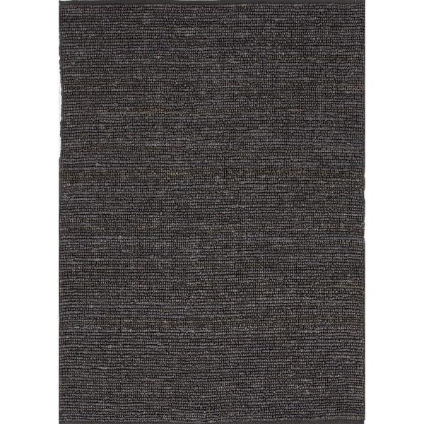 Natural Solid Hemp/ Jute Gray/ Black Woven Rug (5' x 8')