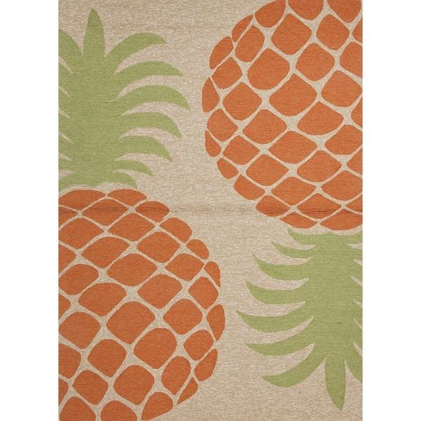 Coastal Red/ Orange Indoor/ Outdoor Rug (7'6 x 9'6)
